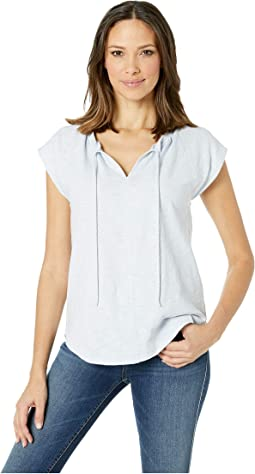 Short Sleeve Split-Neck Loose Knit Slub Top