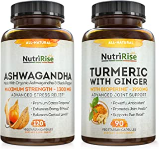 Ashwagandha + Turmeric with Ginger Maximum Strength to Support Stress, Anxiety, Joints & Hormonal Balance - Gluten-Free Ad...