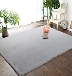 Junovo 4ft x 6ft Super Soft Rabbit Faux Fur Rugs Children Play Carpet with Shaggy Thick Fluffy Bedside Rug Extremely Comfortable Floor Mats for Living & Bedroom, Grey