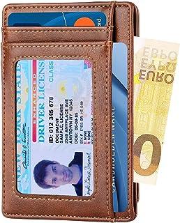 Apsung Minimalist Slim Front Pocket Wallet for Men and Wonmen,Effective RFID Blocking Leather Wallet, Mini Credit Card Holder(Brown)