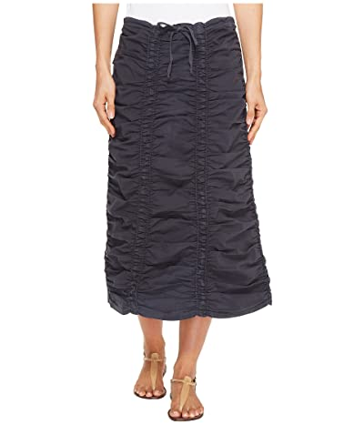 XCVI Stretch Poplin Double Shirred Panel Skirt (Charcoal) Women
