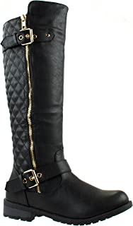 Forever Women's Mango-21 Quilted Pattern Calf High Boots with Buckle and Zipper Decoration Black