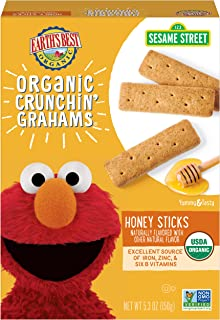 Earth's Best Organic Sesame Street Toddler Crunchin' Grahams, Honey Sticks, 5.3 oz. Box