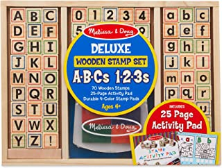 Melissa & Doug Deluxe Wooden Stamp Set - ABCs 123s (Arts & Crafts, 4-Color Inkpad, 70+ Pieces, Great Gift for Girls and Boys - Best for 4, 5 and 6 Year Olds)