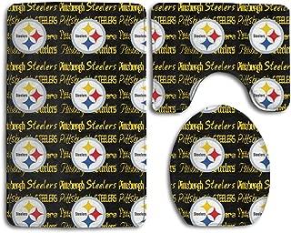 Weckim Pittsburgh Steelers Anti-Skid Lock Water Quick-Dry Bathroom Anti-Skid Three-Piece Set