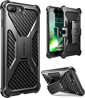 i-Blason Transformer Series Case Designed for iPhone 7 Plus/iPhone 8 Plus, [Kickstand] [Heavy Duty] [Dual Layer] Combo Holster Cover case with [Locking Belt Swivel Clip] (Black)