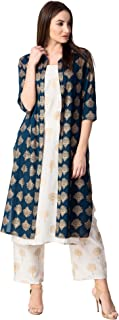 Khushal K Women's Rayon Printed Jacket Kurta With Palazzo Pant Set