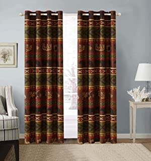 Rustic Western Grizzly Bear Grommet Curtain Set with Southwest Native Indian Tribal..