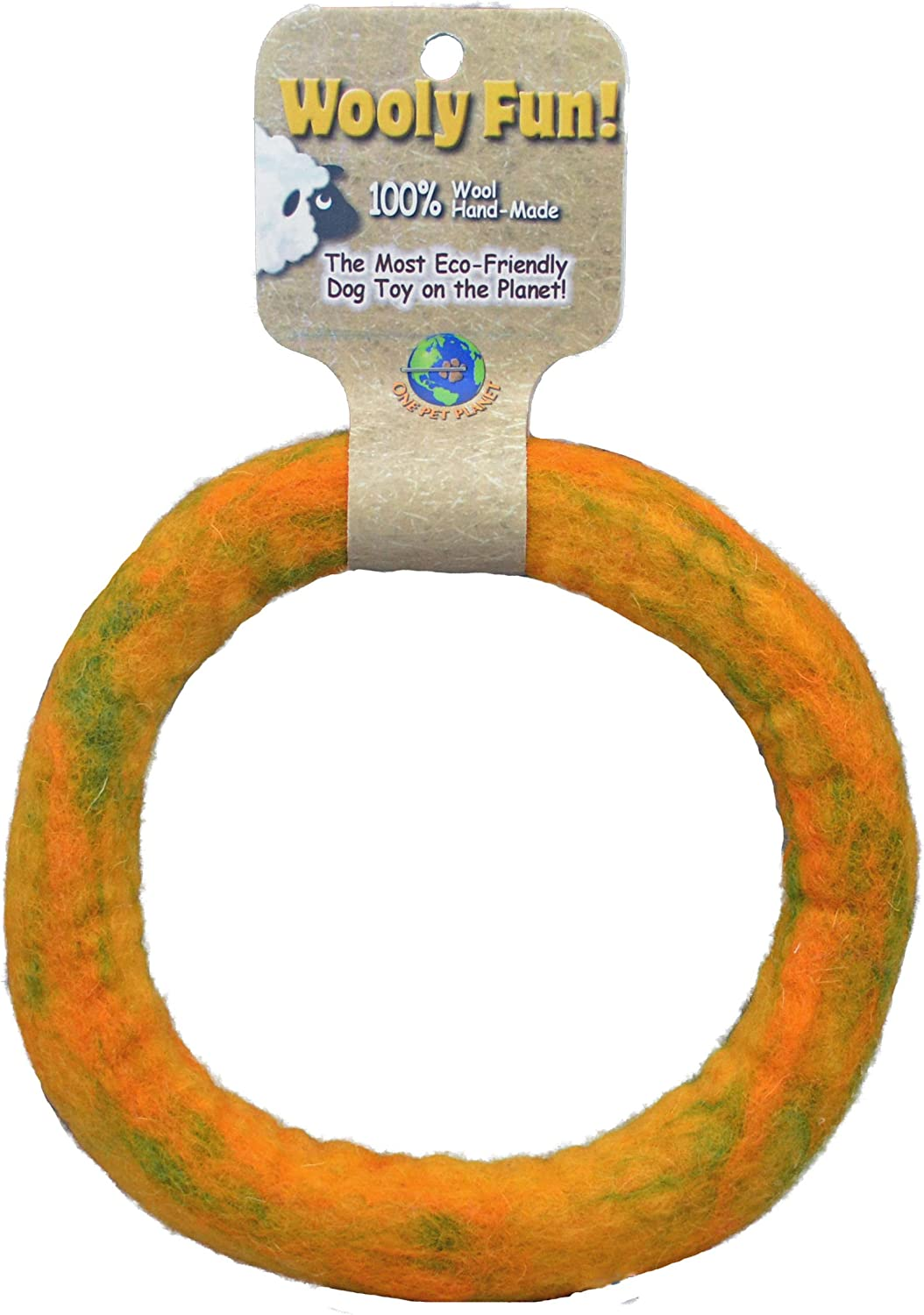 One Pet Planet Wool Dog Toy, 7Inch, Yellow