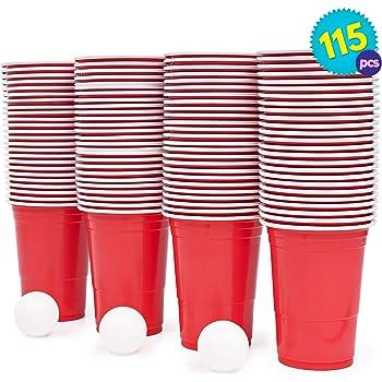 Set de Beer Pong Americano – 100 Vasos Rojos y 15 Bolas de Pimpón – Juegos para Beber