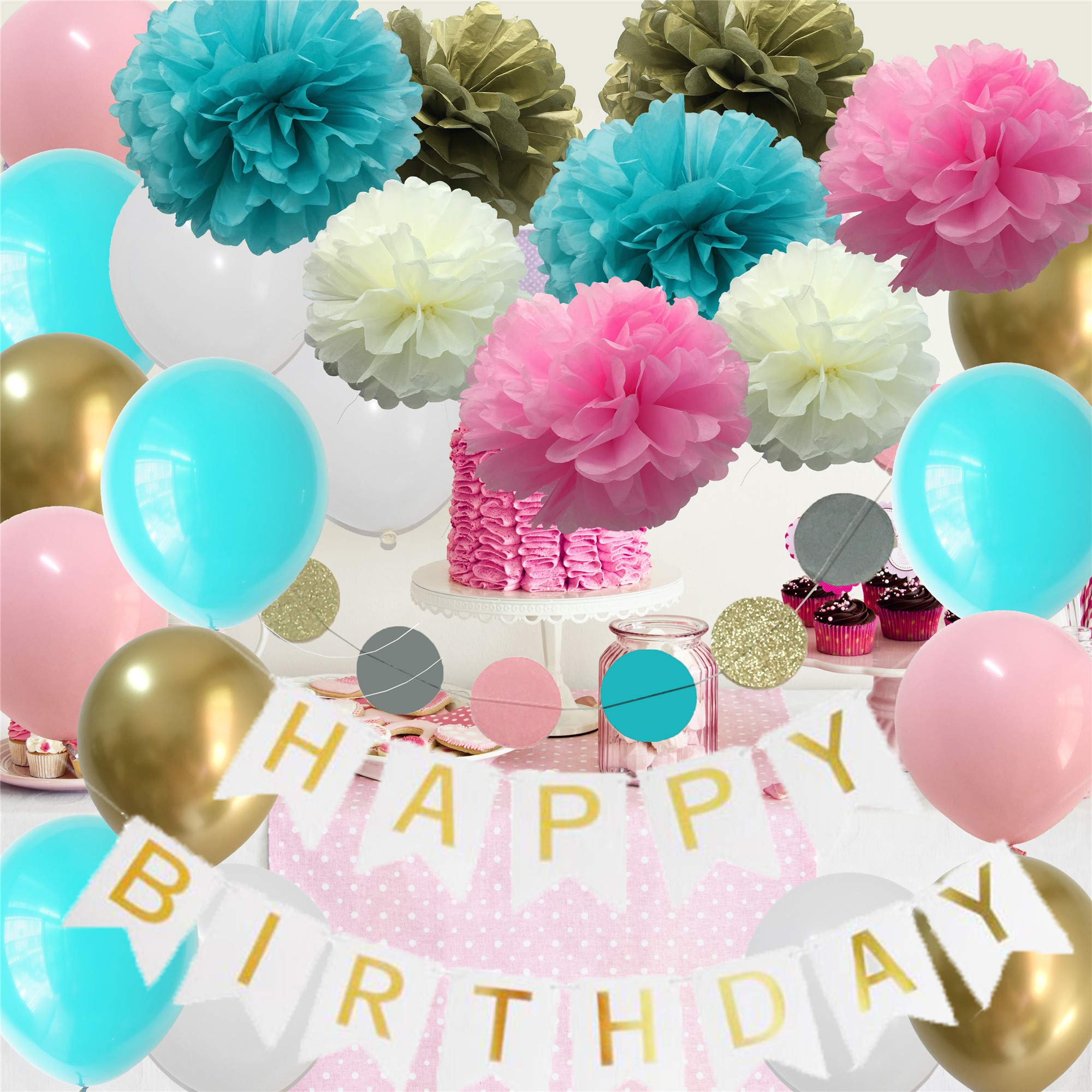 Happy Birthday Decorations for Girls- Pink Teal Gold Birthday Party Supplies for Little Teen Girls Sweet B-Day Décor Kit(Teal Pink White Gold)