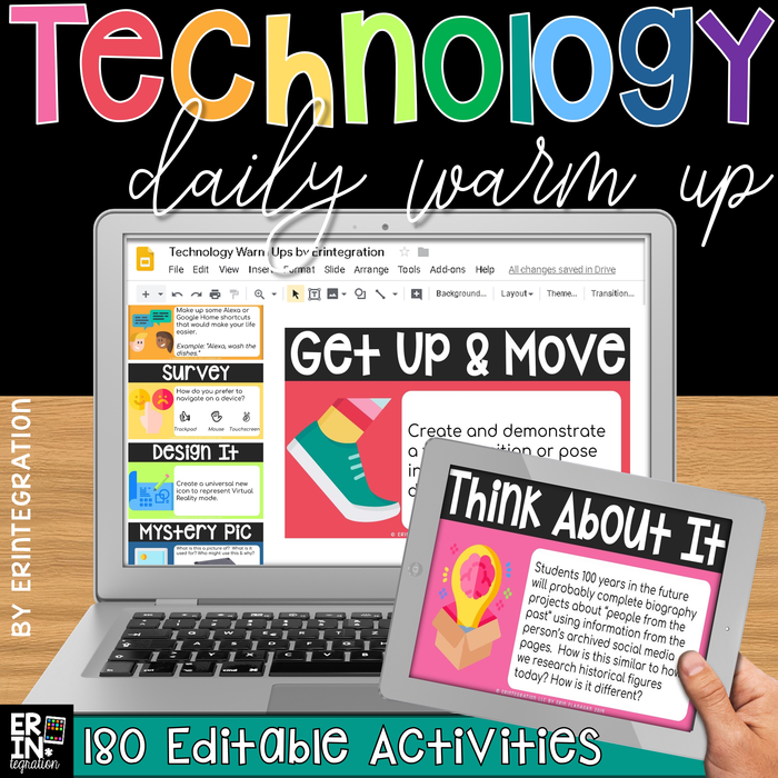Technology Daily Warm Up Questions & Bell Ringers on Google Slides - 180 Prompts (EDITABLE)
