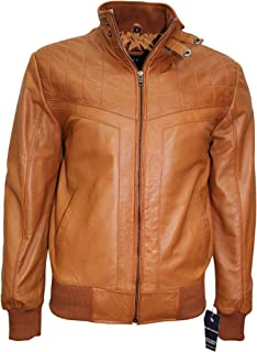 Smart Range Men's 70's Leather Jacket Tan Quilted Retro Bomber Style Lambskin Leather 4757