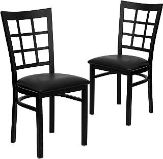 Flash Furniture 2 Pk HERCULES Series Black Window Back Metal Restaurant Chair