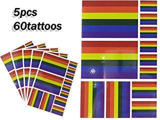 JBCD Rainbow Temporary Tattoos 60 Pcs Stickers, Waterproof Tattoos LGBT Flags Tattoo Patriotic Face Gay Pride Flag Tattoos, Suitable for Event Parties and Pride Decorations