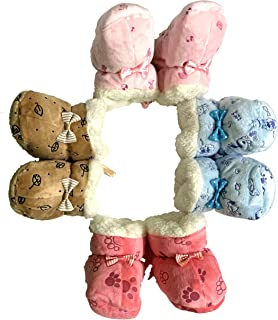 VT VIRTUE TRADERS Unisex Baby Booties for 6 to 12 Months Baby (Multicolor, Pack of 4 Pairs)
