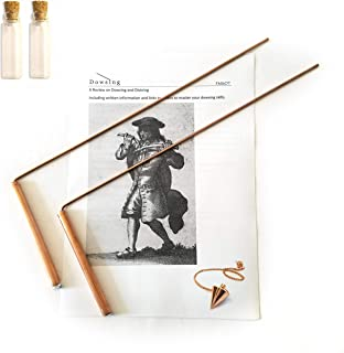 Dowsing Rod Copper -Solid Material 99% - Ghost Hunting, Divining Water, Gold, Buried Items, etc. Instructions and Bonus Pendulum - 5x13 Inch – Non-Toxic