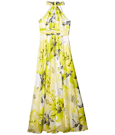 Calvin Klein Floral Knot Neck Gown with Keyhole (Pear Multi) Women