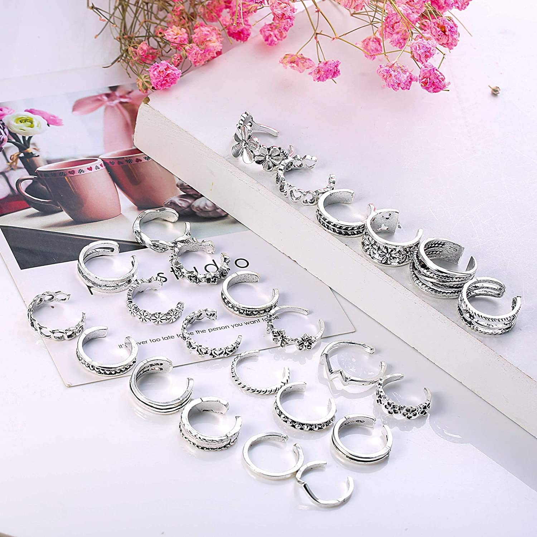 HANPABUM 24Pcs Open Toe Rings Set for Women Adjustable Knuckle Ring Vintage Retro Toe Finger Ring Foot Jewelry