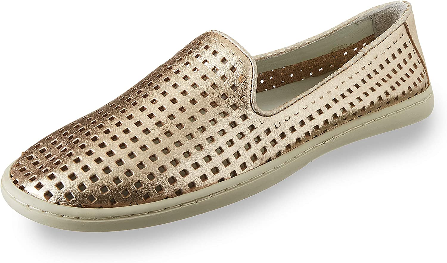 Chocolat Blu Move Brenn - Perforated Slip-On Loafer Shoe in Gold Leather