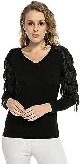 BUKETLI Zwarte blouse met franjes (verkrijgbaar in 8 maten) 3006