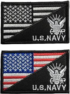SpaceCar USA Flag & US Navy Army Tactical Morale Badge Hook & Loop Patch - Eagle Bundle 2 Pieces