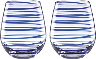KATE SPADE Charlotte Street 2pc Stemless Wine Glass, 1.50 LB, Blue