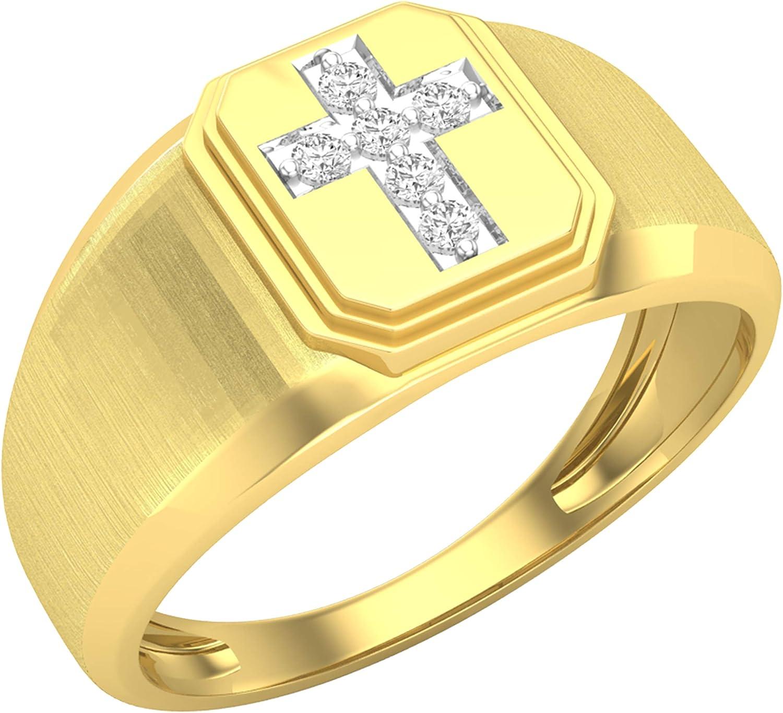 Dazzlingrock Collection 0.10 Carat (ctw) 10k Round Diamond Mens Cross Band Ring, Yellow Gold