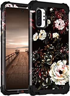 Lontect for Galaxy Note 10 Plus Case Floral 3 in 1 Heavy Duty Hybrid Sturdy Armor High Impact Shockproof Protective Cover ...