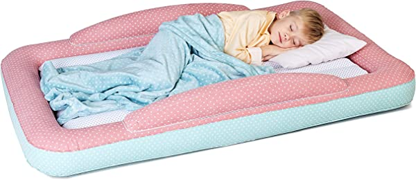 Toddler Travel Bed Portable Air Bed With Safety Bumpers For Kids Toddlers Inflatable Sleeping Cot Floor Bed With Mattress Blanket For Camping Or Sleepover Includes Pump