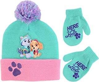 Girls' Toddler Paw Patrol Hat and Mittens Cold Weather Set, green/pink, Age 2-4