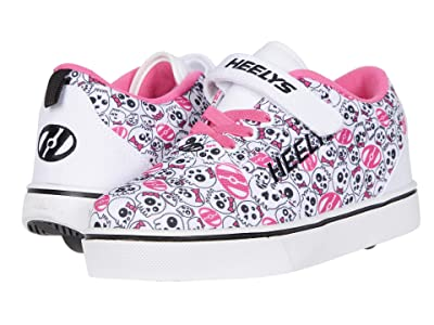 Heelys Pro 20 (Little Kid/Big Kid) (White/Black/Hot Pink/Skulls) Girl