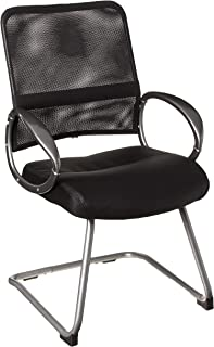Boss Office Products Mesh Back Guest Chair with Pewter Finish in Black