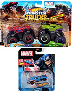 Hot Wheels Team Up Demolition Marvel Hero Doubles Series Jam Pack Bundled with Hulk Vs Spider Man Monster Trucks + Action Flip Shield Captain America Character Car 2 Items