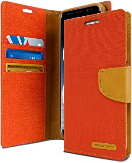 Goospery Canvas Wallet for Samsung Galaxy Note 8 Case (2017) Denim Stand Flip Cover (Orange) NT8-CAN-ORG