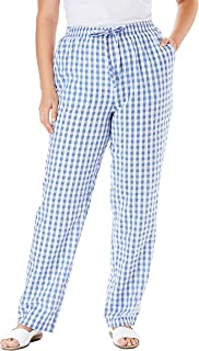 Woman Within Women's Plus Size Petite Seersucker Pant