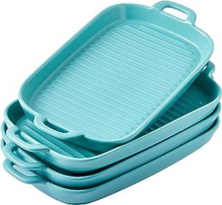 "Bruntmor 10""x6"" Set Of 4 Oven to Table Bakeware Matte Glaze Dinner Plates, Lasagna Serving Pan With Handle Rectangular Dis..."
