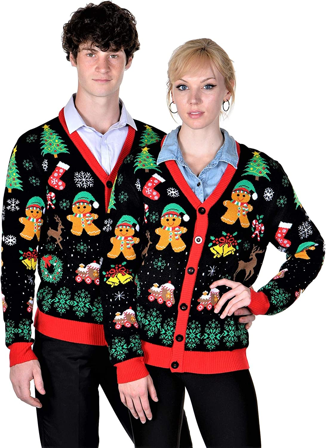 SoCal Look Women's Ugly Christmas Sweaters Cardigan Gingerbread Black