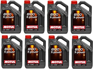 Motul 106144 Set of 8 8100 X-Power 10W-60 Motor Oil 5-Liter Bottles