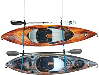 Double Kayak Storage Strap System - for Indoor and Outdoor Kayak & SUP Paddle Board Hangers - Comes with Paddle Clips - PS...