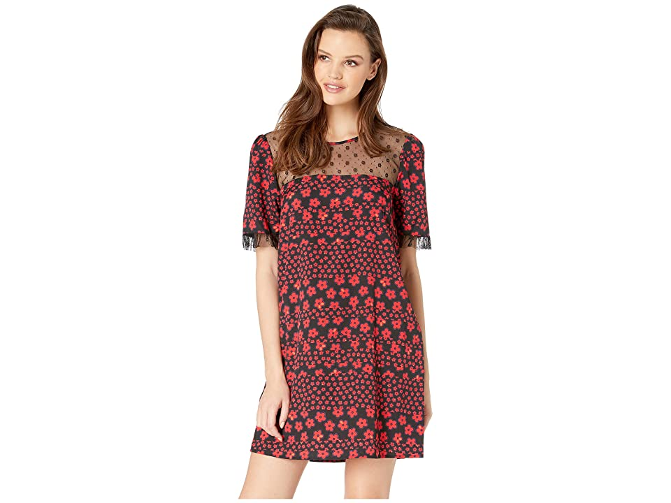 BCBGeneration Day Lace Trim Woven Dress (Red/Black Combo) Women