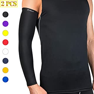 HiRui Arm Compression Sleeve, Arm Guards Elbow Brace for Basketball Football Volleyball Baseball Golf Cycling-Arthritis, UV Protection-Guard for Youth Adult Runners (1 Pair)