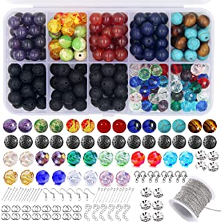 EuTengHao 625Pcs Lava Stone Beads Crystal Glass Beads Chakra Beads Kit with Spacer Beads Jewelry Findings Necklace Chain A...