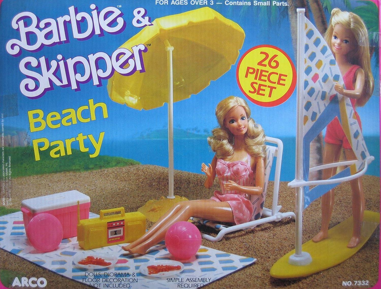 Barbie & Skipper Beach Party Playset w 26 Pieces (1988 Arco Toys, Mattel)