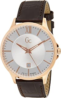 Gc Mens Quartz Watch, Analog Display and Leather Strap Y38003G1