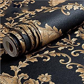 KeTian European Luxury Vintage Damask PVC Deep Embossed Textured Home Decoration Living Room Bedroom Wallpaper Roll Black ...