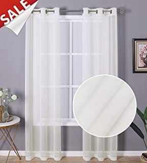 Regal Home Collections 2 Pack, Sheffield Solid Sheer Grommet Curtain Panel Pair, 38