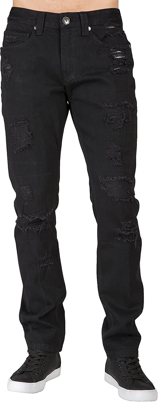 Level 7 Sacramento Mall Men's Premium Jeans Overdyed Tapered Max 70% OFF Mend Black Leg Slim