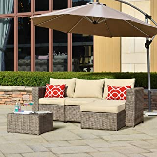 ovios Patio furnitue, Outdoor Furniture 5 Piece Sets,Morden Wicker Patio Furniture sectional with 2 Pillow and Waterproof Covers,Backyard,Pool,Steel,Brown,Beige (5 Piece, Beige)