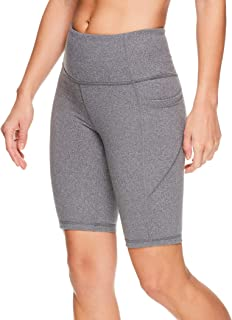 Reebok Women's Compression Running Shorts Workout Bike Short - 9.5 Inch Inseam